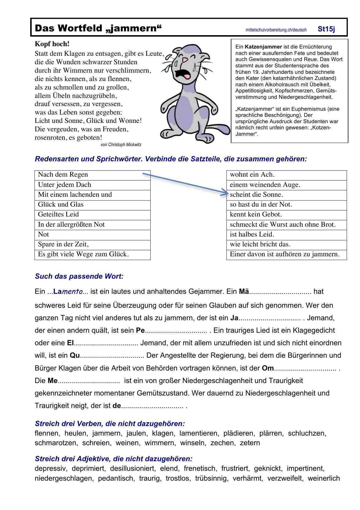 deutsch Übungsblätter zum ausdrucken