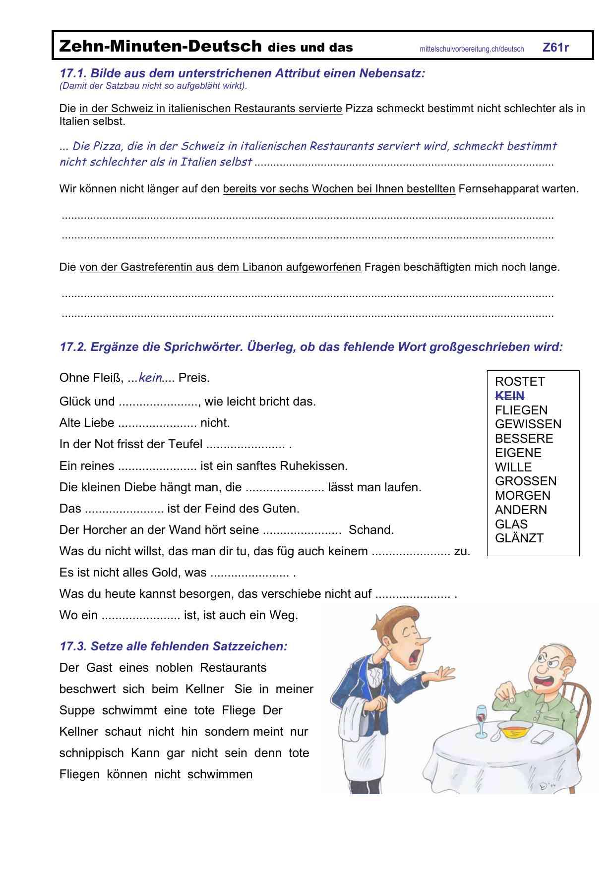 Arbeitsblätter Deutsch Mittelschulvorbereitung